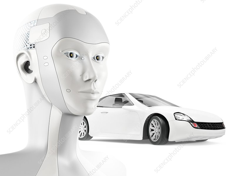 Self-driving car with AI, illustration