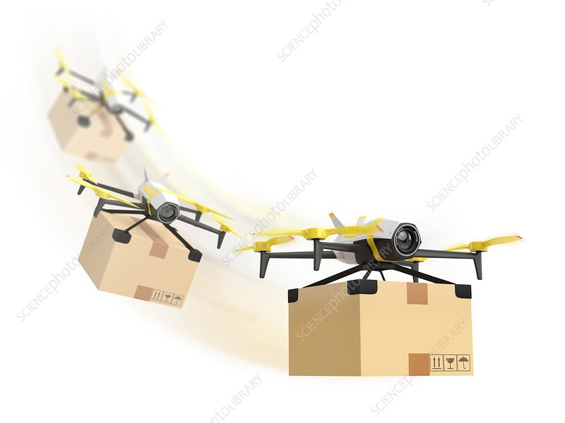 Delivery drone, illustration