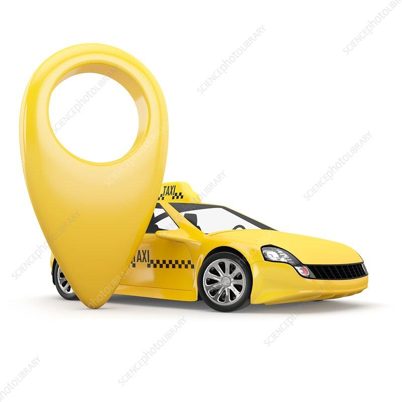 Autonomous taxi, illustration