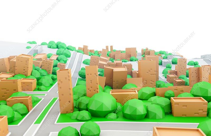 Model of cardboard city, illustration