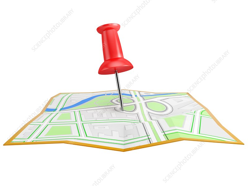 Location pin on city map, illustration