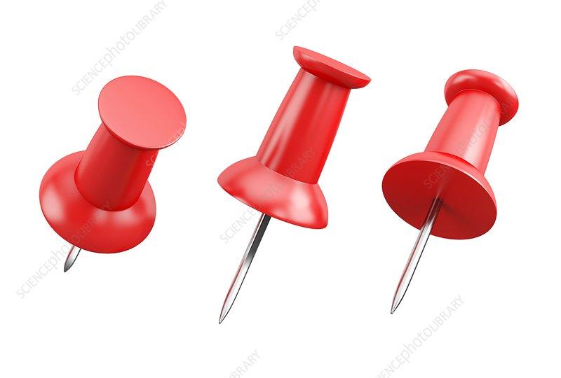 Red pushpins, illustration