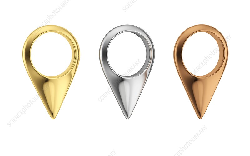 Gold, silver and bronze location pins, illustration
