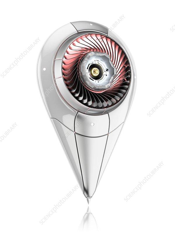 Futuristic location pin, illustration