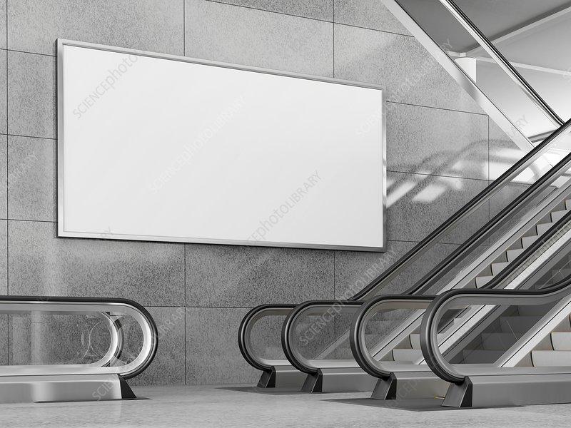 Billboard and escalators, illustration