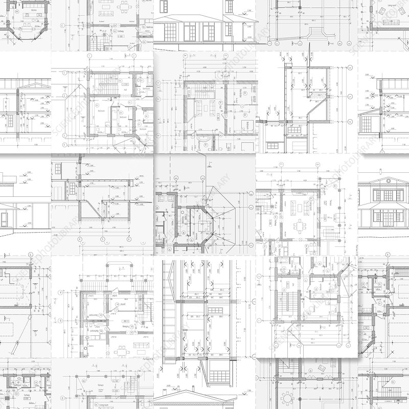 Architectural plans, illustration