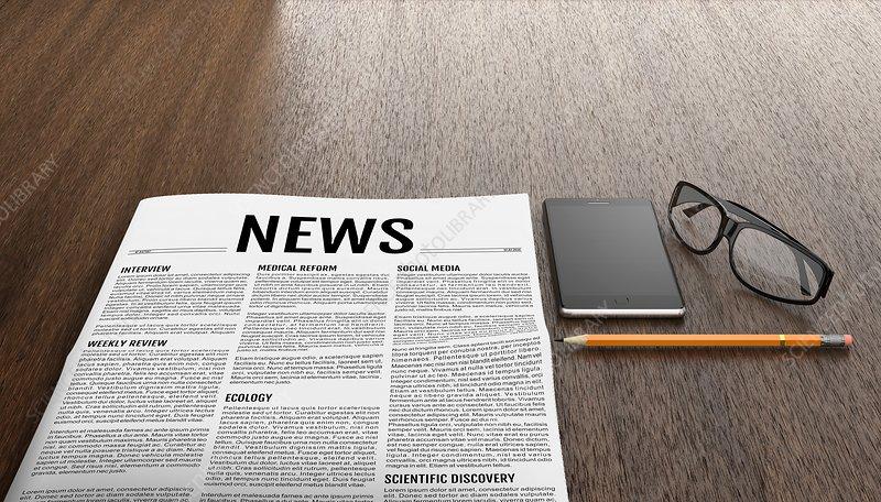 Newspaper on desk, illustration