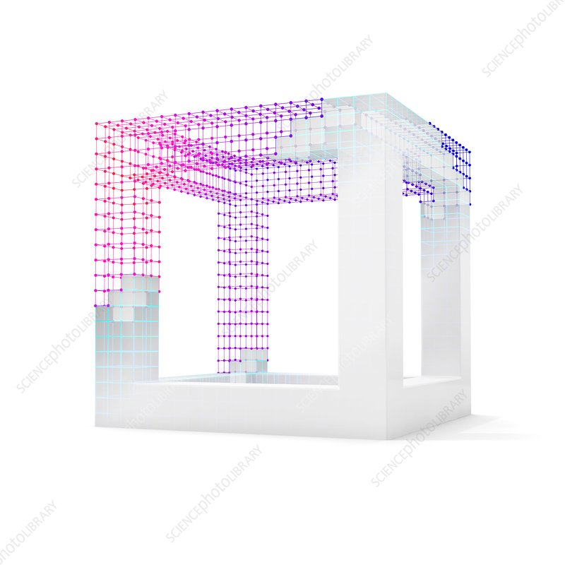 White cube with visible wireframe, illustration