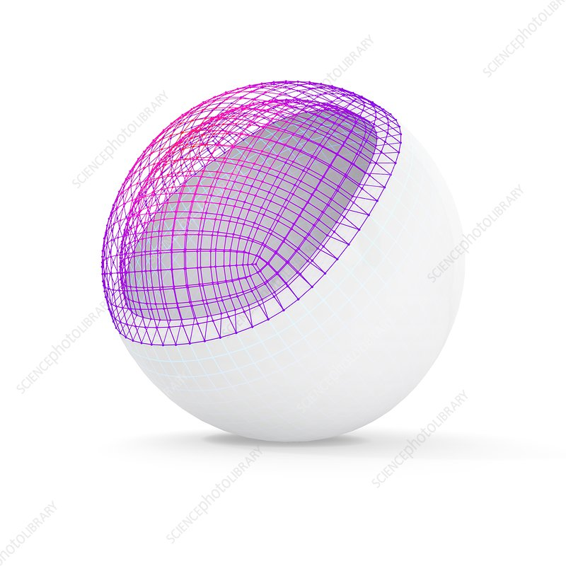 White sphere with visible wireframe, illustration