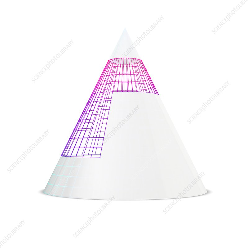 White cone with visible wireframe, illustration