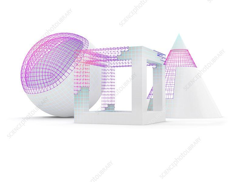 Geometric objects with wireframe, illustration