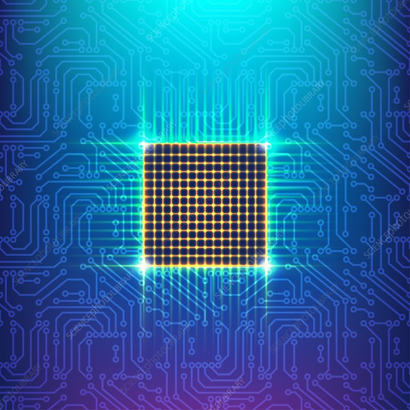 Computer chip, illustration