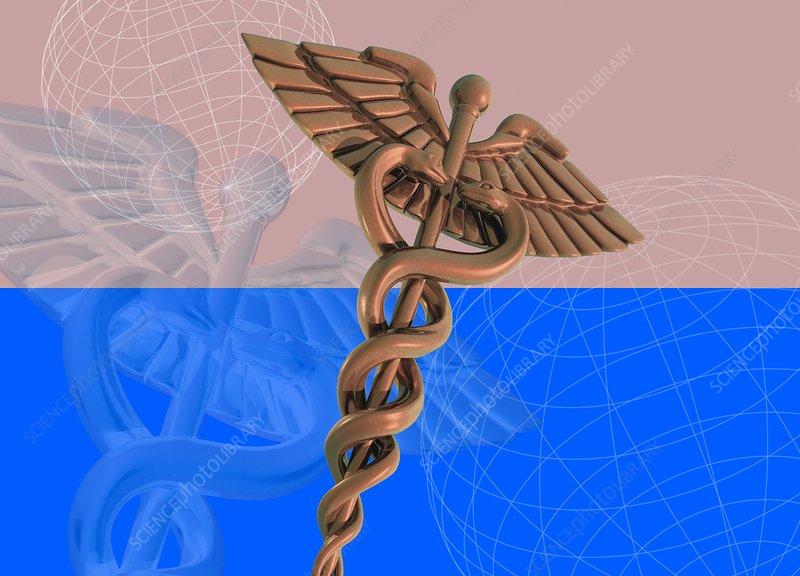 Medical caduceus, illustration