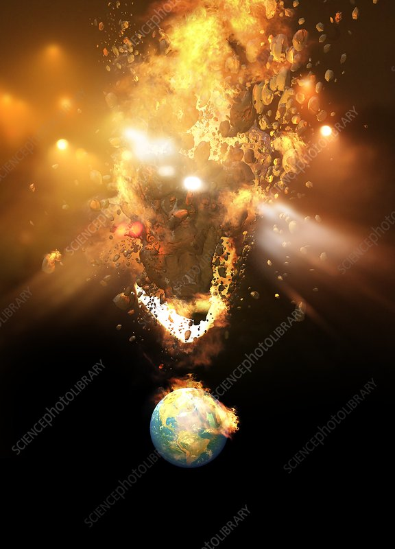 Planet being hit by huge meteor, illustration