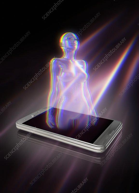 Female form and smartphone, illustration