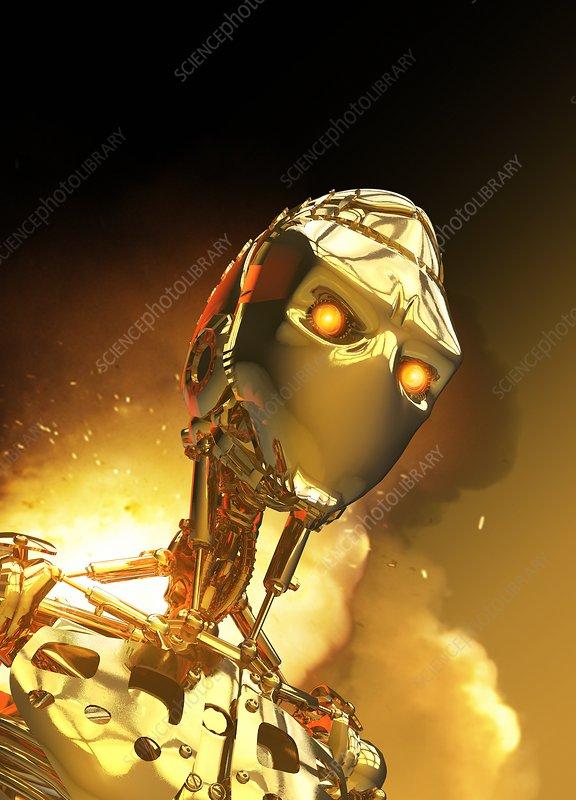 Metallic android, illustration