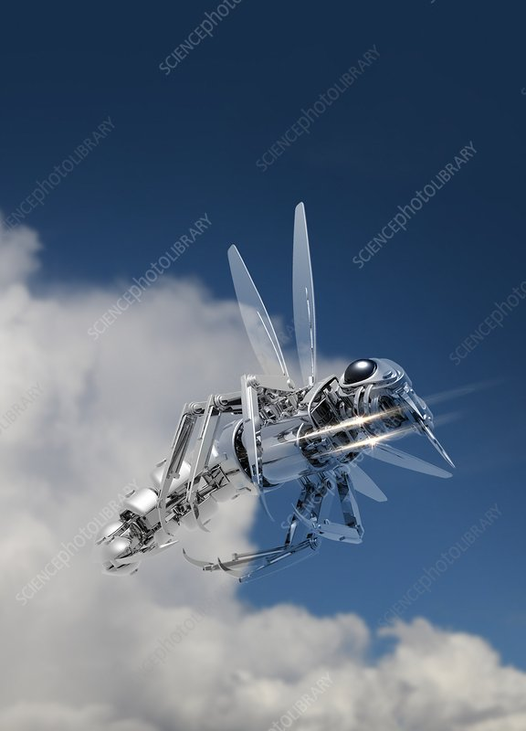 Robotic insect flying, illustration