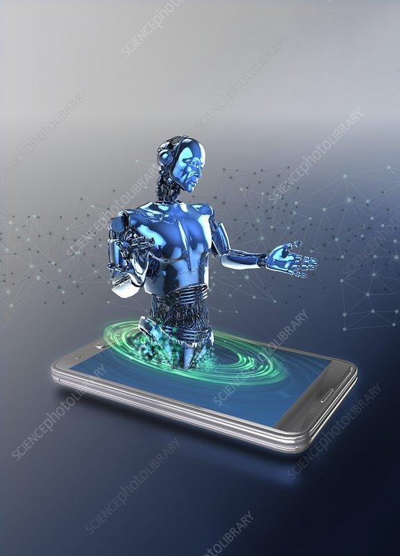 Robot emerging from smartphone screen, illustration