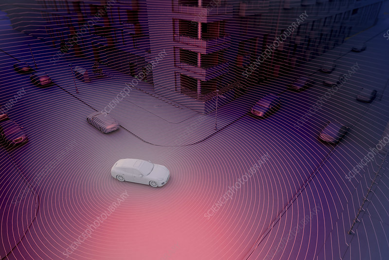 Autonomously driven car, illustration
