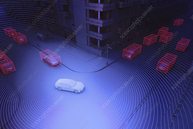 Autonomously driven car, illustration