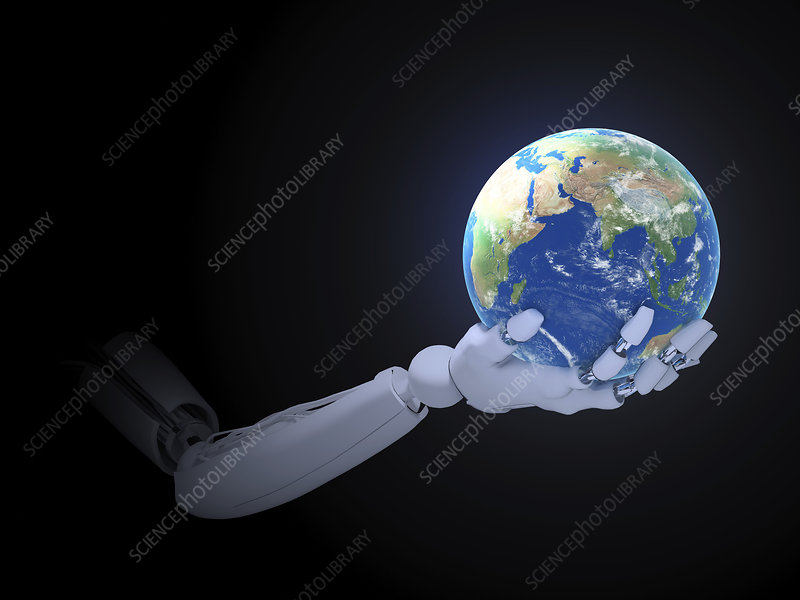 Android hand holding earth, illustration