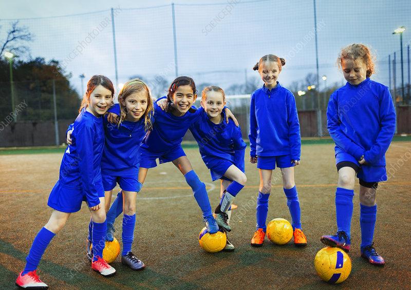 Portrait girls soccer team
