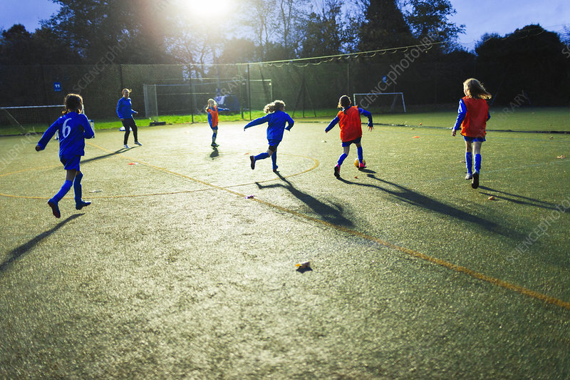Girls soccer team practicing