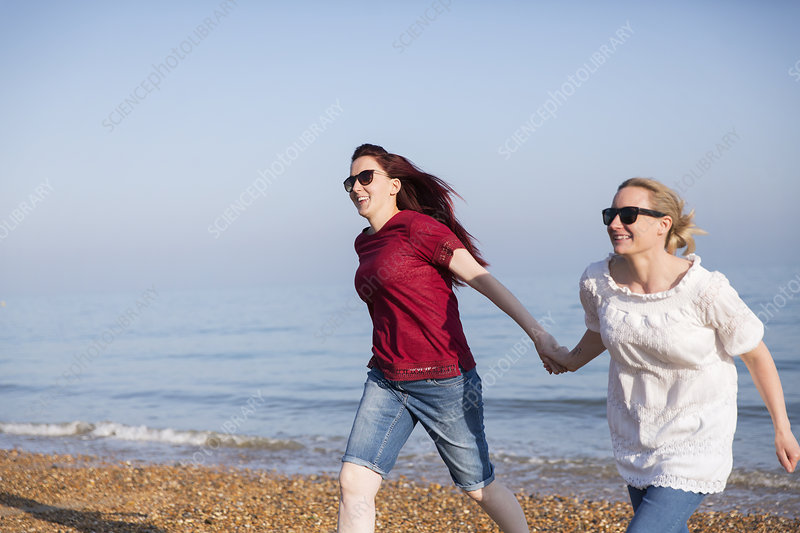 Lesbian couple holding hands on beach