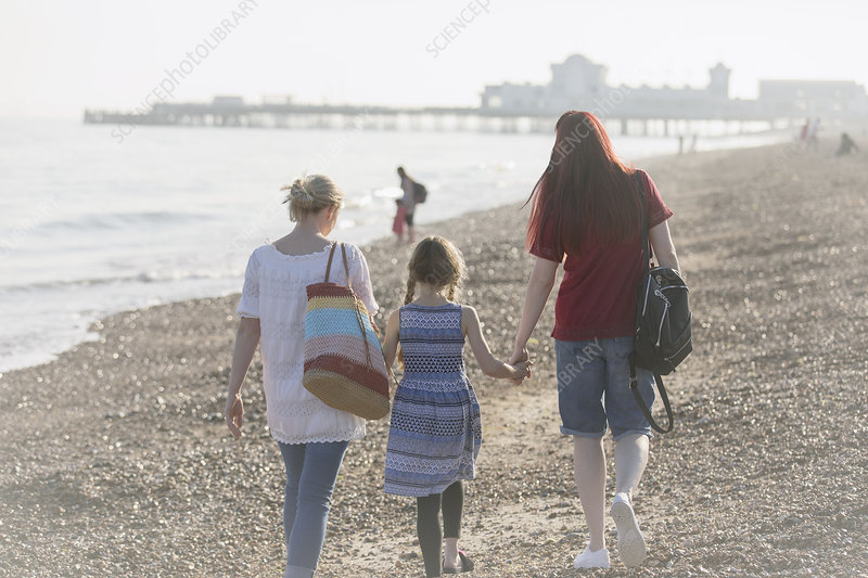 Lesbian couple and daughter walking on beach