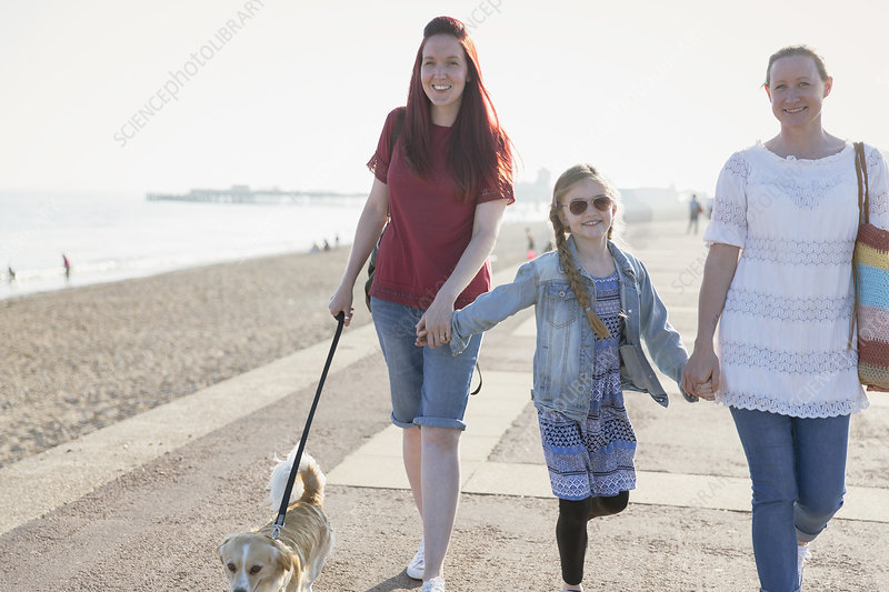 Lesbian couple with daughter and dog walking