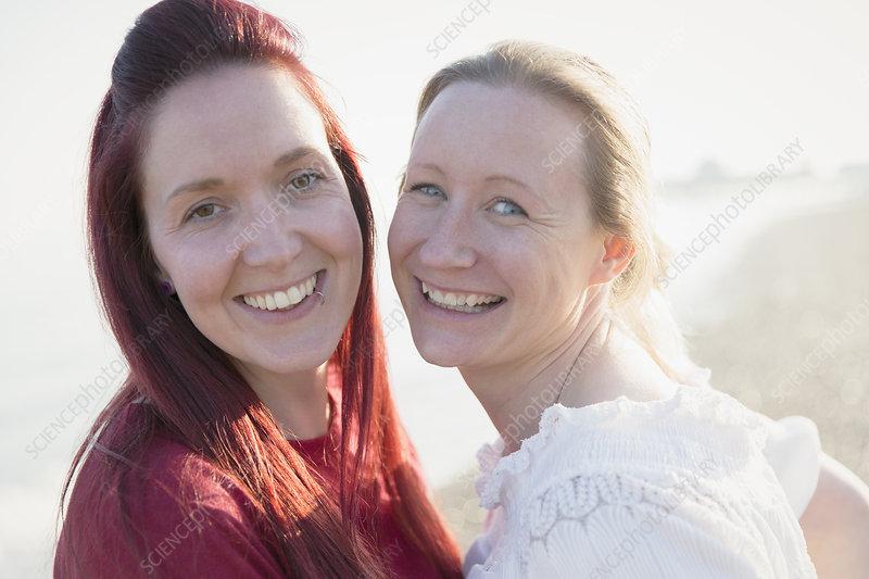 Portrait happy lesbian couple