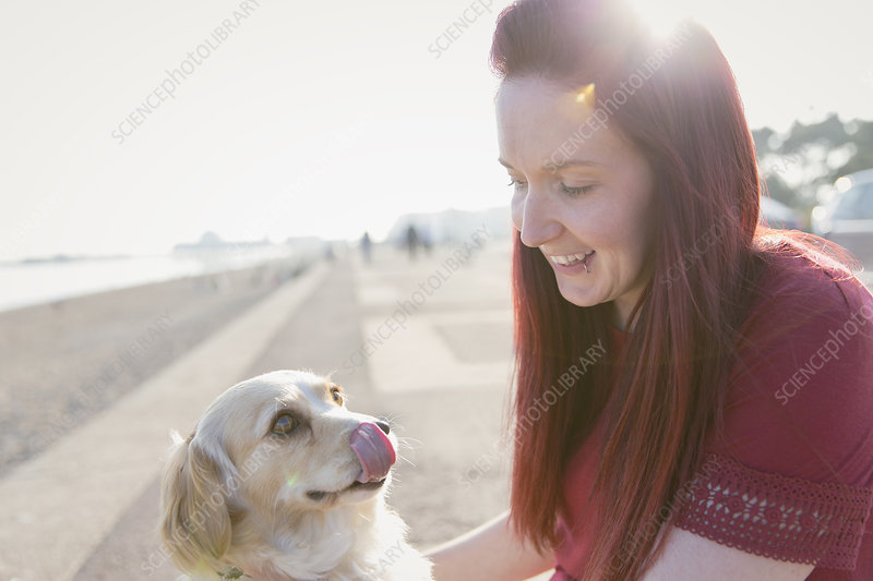 Woman with cute dog on beach boardwalk