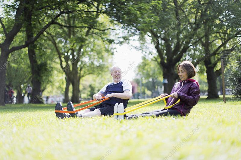 Active senior couple exercising