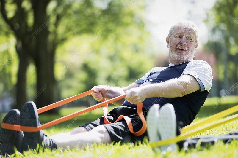 Active senior man exercising