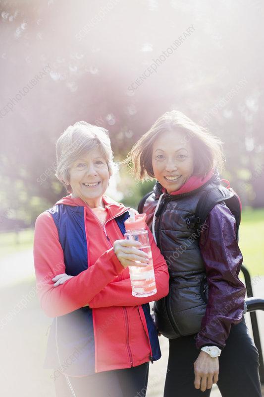 Portrait active senior women in park