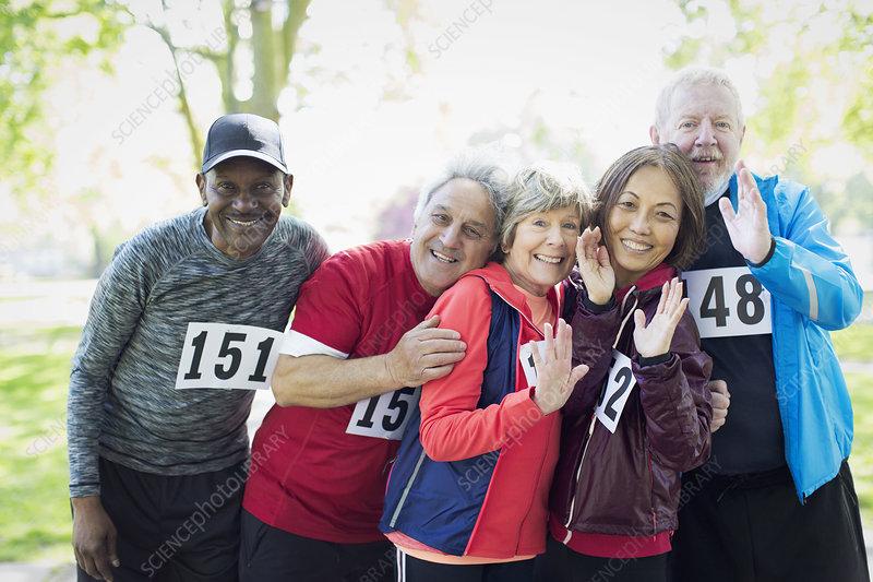 Active senior runner friends