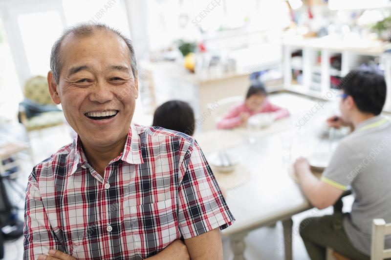 Portrait happy senior man