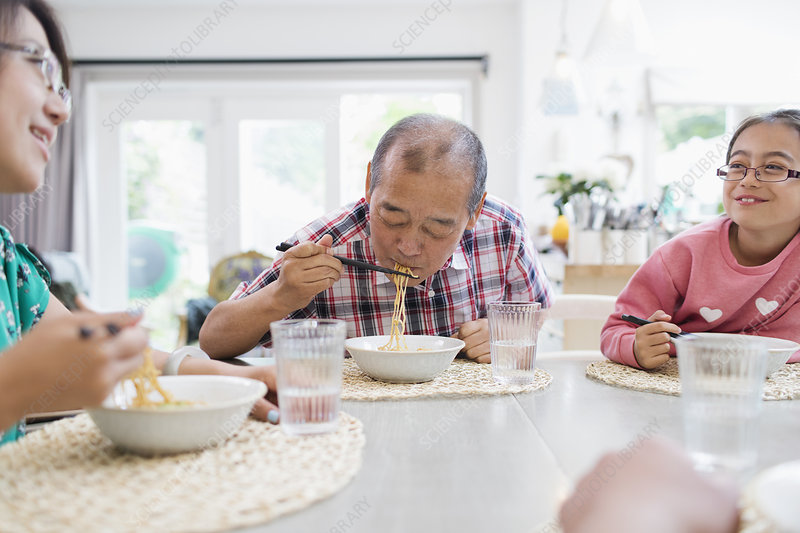 Family eating noodles with chopsticks