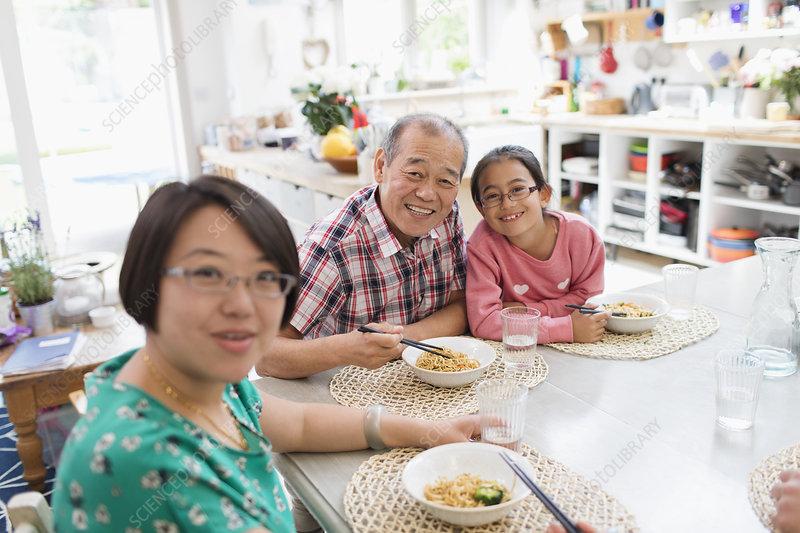 Portrait Family eating noodles with chopsticks