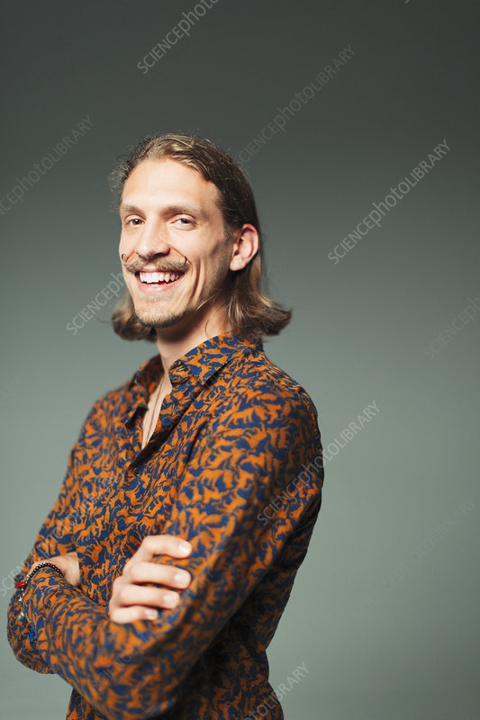 Portrait young man with handlebar moustache