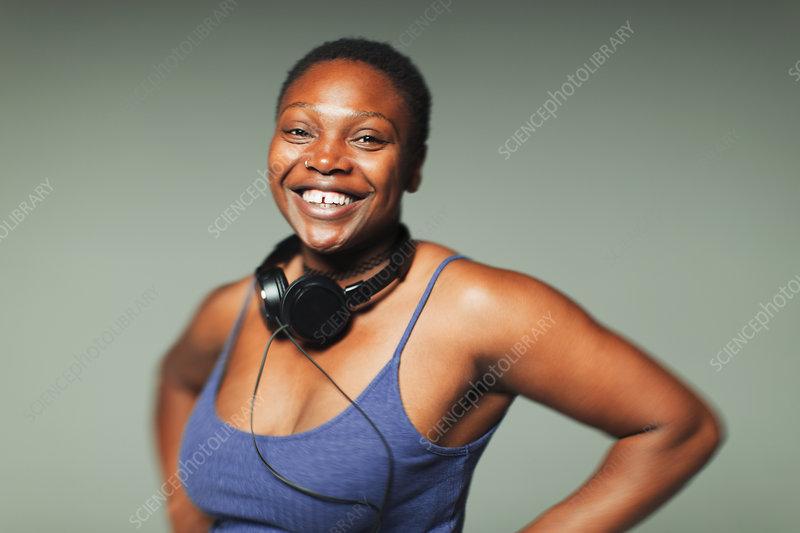 Portrait woman with headphones