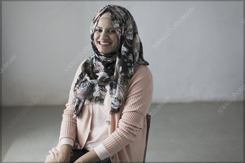 Portrait woman in floral hijab