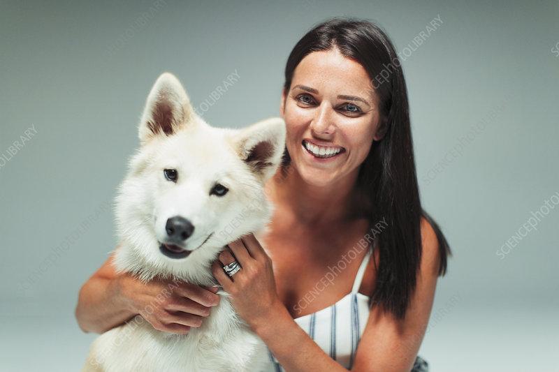 Portrait woman with dog