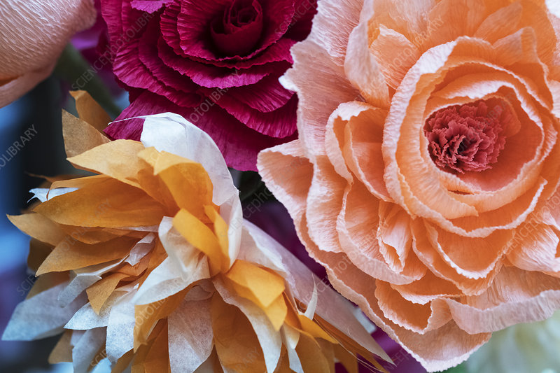 A bunch of colourful handcrafted fabric flowers
