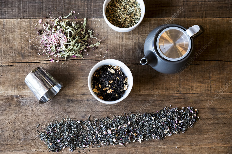 High angle, tea leaf infusions, black teapot on wooden table