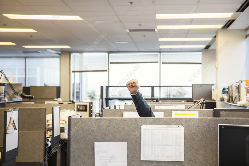 Cubicles in an office with a person raising their fist