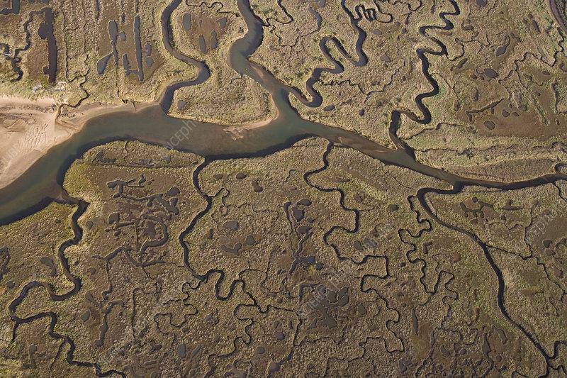 Aerial view of creeks and saltmarsh on Morston marsh, UK