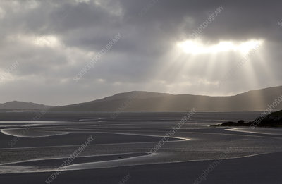 Traigh Losgaintir beach and estuary in evening light