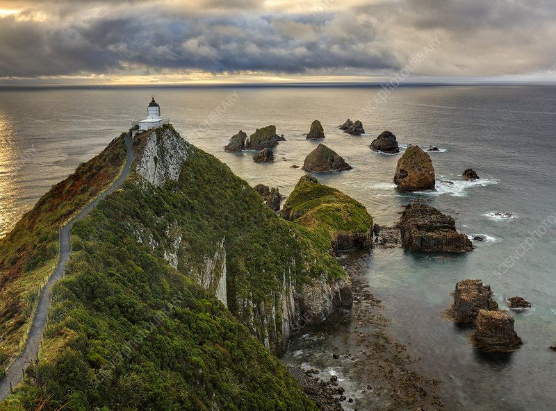 Nugget Point lighthouse at sunrise