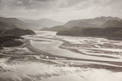 Mawddach Estuary at low tide, Barmouth, Wales, UK